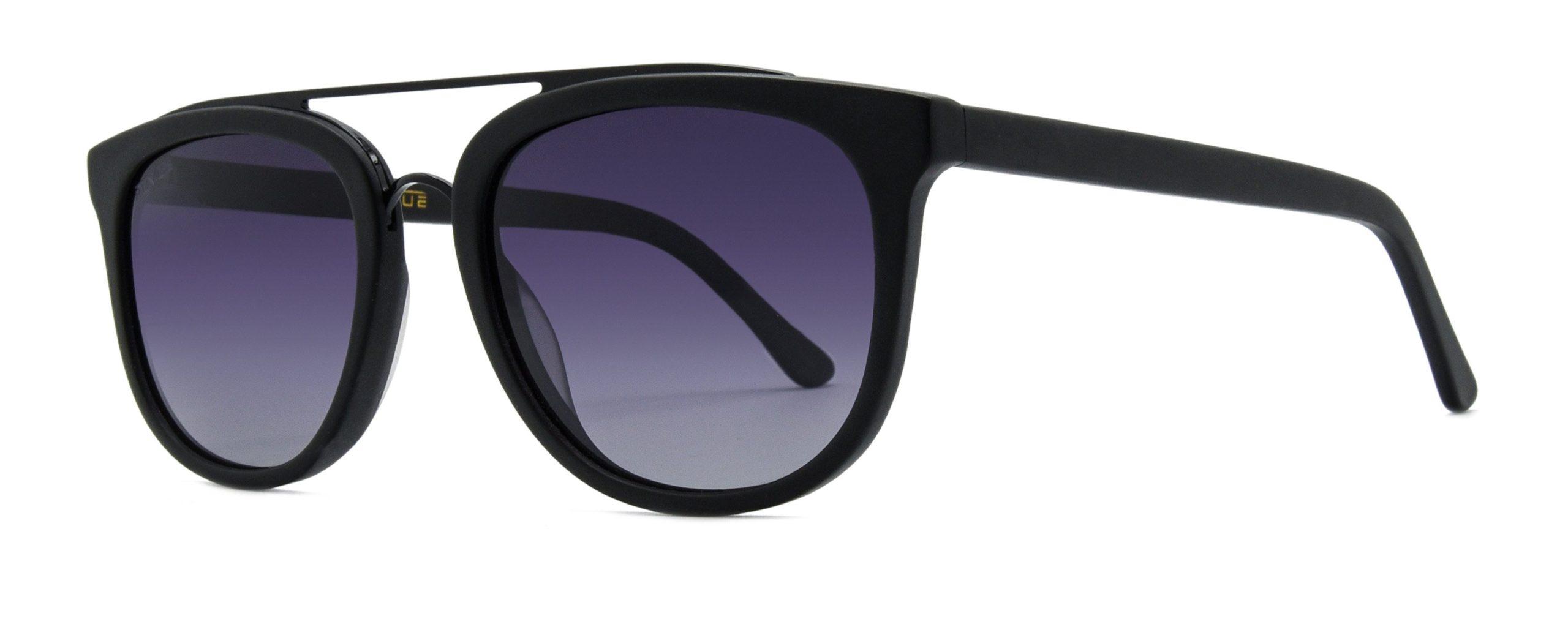 Zena - Matte Black - Black Gradient Polarized Grey Lenses - Angle